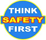 """Think Safety First Decal. 3"""" 2 Pair (4-Decals) Industrial Grade. Use in any Dangerous Workplace Environment for Employee Safety. Made in USA. Free Shipping"""