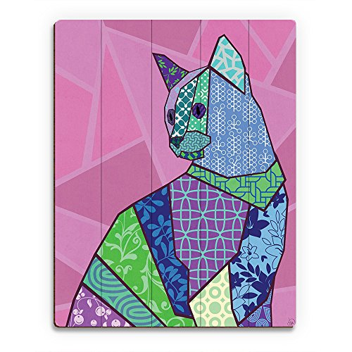 - Patchwork Kitten: Graphic Illustration of Sitting Calico Cat on Pink Mauve Wall Art Print on Wood
