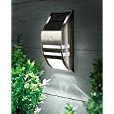 Elinkume Solar Powered Motion Sensor LED Wall Sconce Path Accent Light,Outdoor Security LED Lighting Lamp for Staircase, Step, Garden, Yard, Wall, Drive Way, Home, Pathway, Patio,Cool White