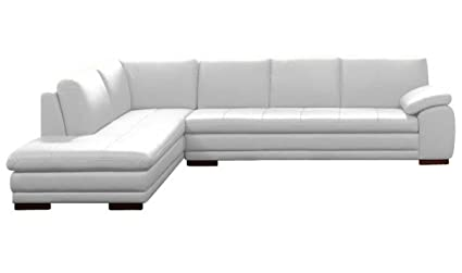 Amazoncom Jm Furniture 625 Italian Leather Sectional White In