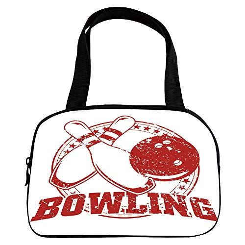 iPrint Vogue Small Handbag Pink,Bowling Party Decorations,Grunge Circle of Stars Vintage Distressed Emblem Design Typography,Red White,for Girls,Diversified (Vintage Bowling Bags)