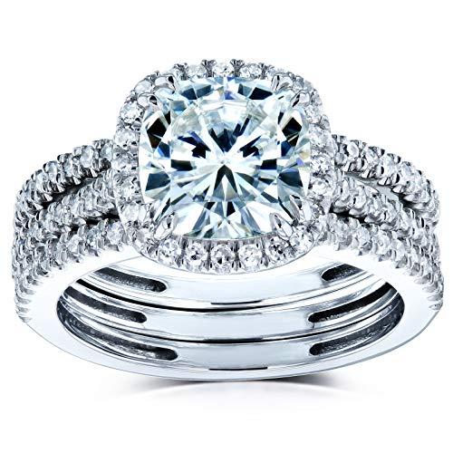 Kobelli Cushion Brilliant Moissanite Halo Bridal Wedding Rings Set 2 1/2 CTW 14k White Gold (DEF/VS, GH/I), 6.5