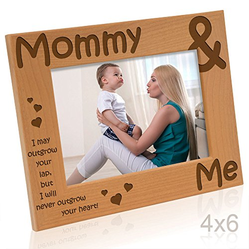 Kate Posh - Mommy & Me Engraved Natural Wood Picture Frame - Mother's Day Gifts, I Love Mommy Photo Frame, Christmas Gifts, New Baby Gifts, Nursery Picture Frame, New Mom Gifts (4x6-Horizontal)