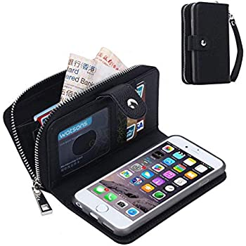 6d47dbc279e0 iPhone 6S Plus Wallet Case,Detachable PU Leather Zipper Pocket Purse Phone  Protective Shell Credit