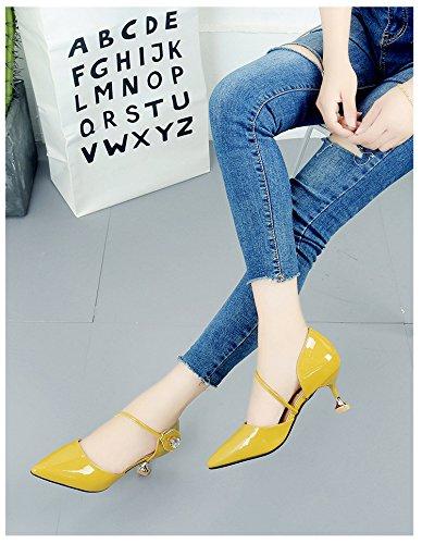 Tacones Shoes Cats 1Color Heels Stiletto Hollow Charol y en con Buckle Wild ZqSvC