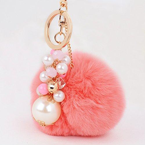 Cute Key Keychain Novelty Rabbit Fur Ball Charm Perfume B...