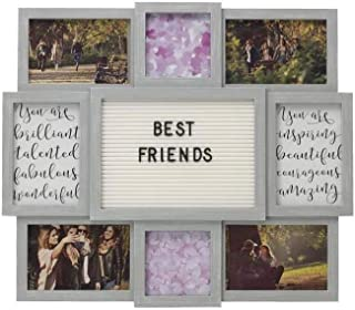 "product image for flag connections Customizable Letter Board with 8-Opening Photo Collage, 19""-by-17, Gray"