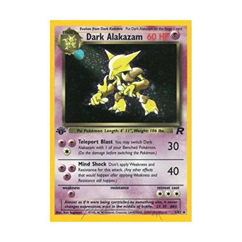 Alakazam Pokemon Card - Dark Alakazam Holofoil - Team Rocket - 1 [Toy]