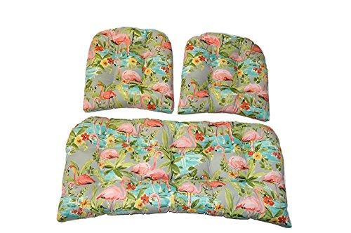 3 Piece Wicker Cushion Set - Waverly Elegant Tropical Platinum Flamingo - Grey Aqua Green Coral Indoor / Outdoor Fabric Cushion for Wicker Loveseat Settee & 2 Matching Chair Cushions (Flamingo Coral)