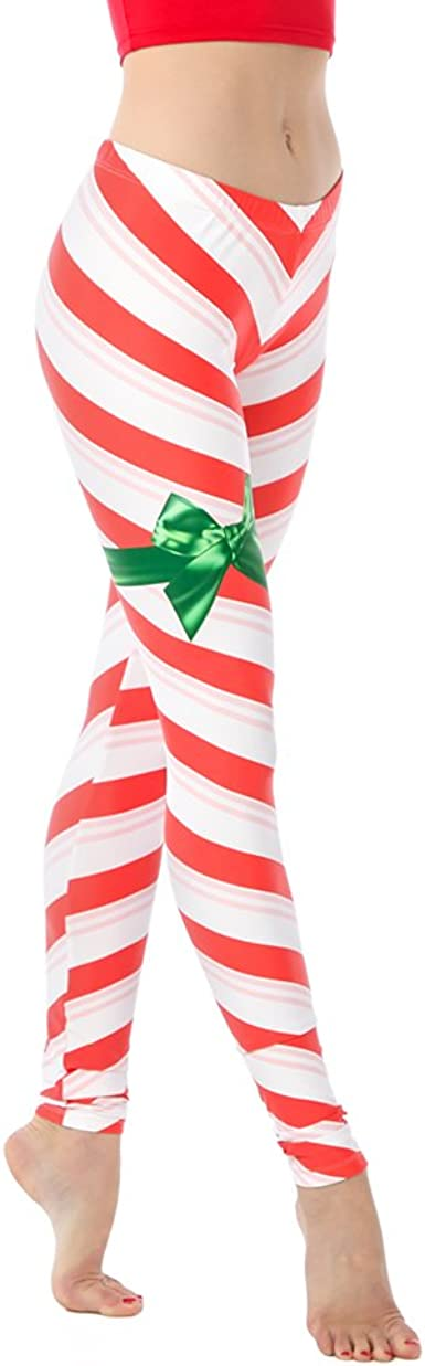 Pink Queen Christmas Candy Cane Striped Leggings White