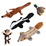 EXPAWLORER Plush Large Dog Toy Set - Pack 5 Animal Pet Squeaky Chew Toy for Dental Teaser, Fox, Monkey, Skunk, Raccoon, Wild Duck