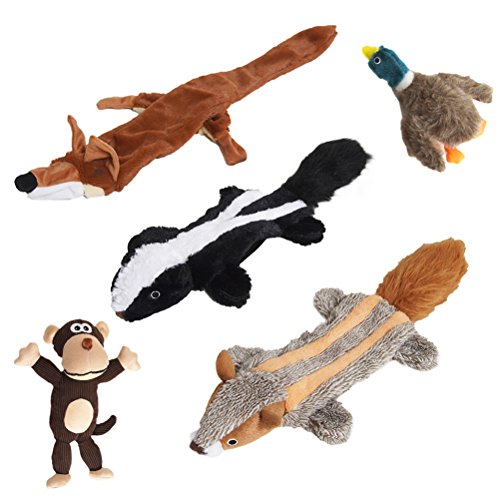 EXPAWLORER Plush Large Dog Toy Set – Pack 5 Animal Pet Squeaky Chew Toy for Dental Teaser, Fox, Monkey, Skunk, Raccoon, Wild Duck