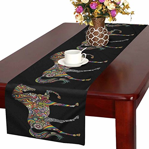 Kitchen Decor Horse (InterestPrint Horse Silhouette with Mandala Flower Ornament Table Runner Cotton Linen Cloth Placemat Home Decor for Home Kitchen Dining Wedding Party 16 x 72 Inches)