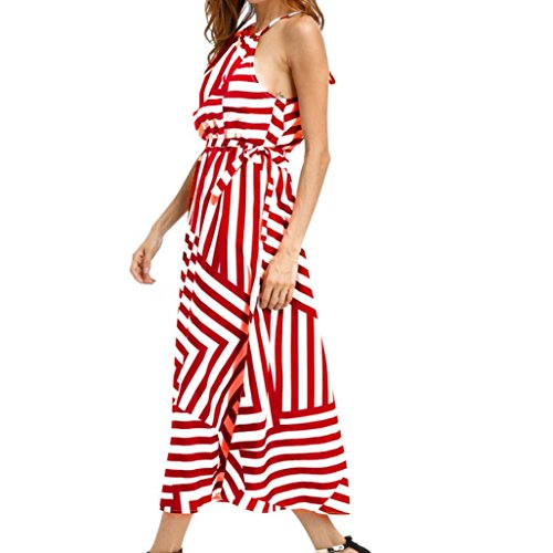Taore Women Sexy Summer Boho Maxi Long Evening Party Dress Beach Dress Sundress (L, Red) ()