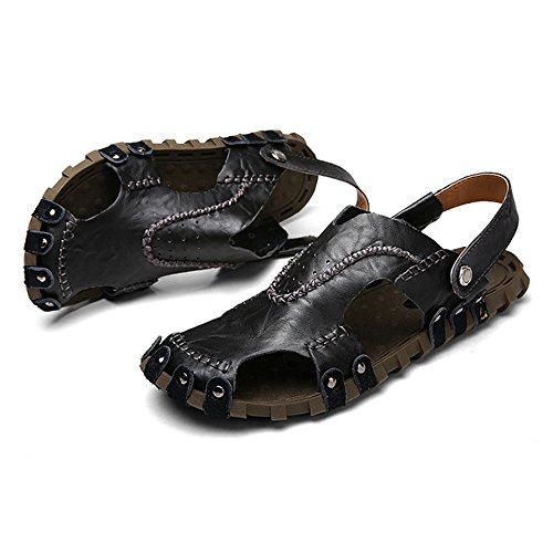il per spiaggia Black Sandali libero per e adatti pelle coperto all'aperto da 40 al EU Size Black Color uomo regolabili traspiranti antiscivolo la sandali tempo in sandali pP6BxwqOp