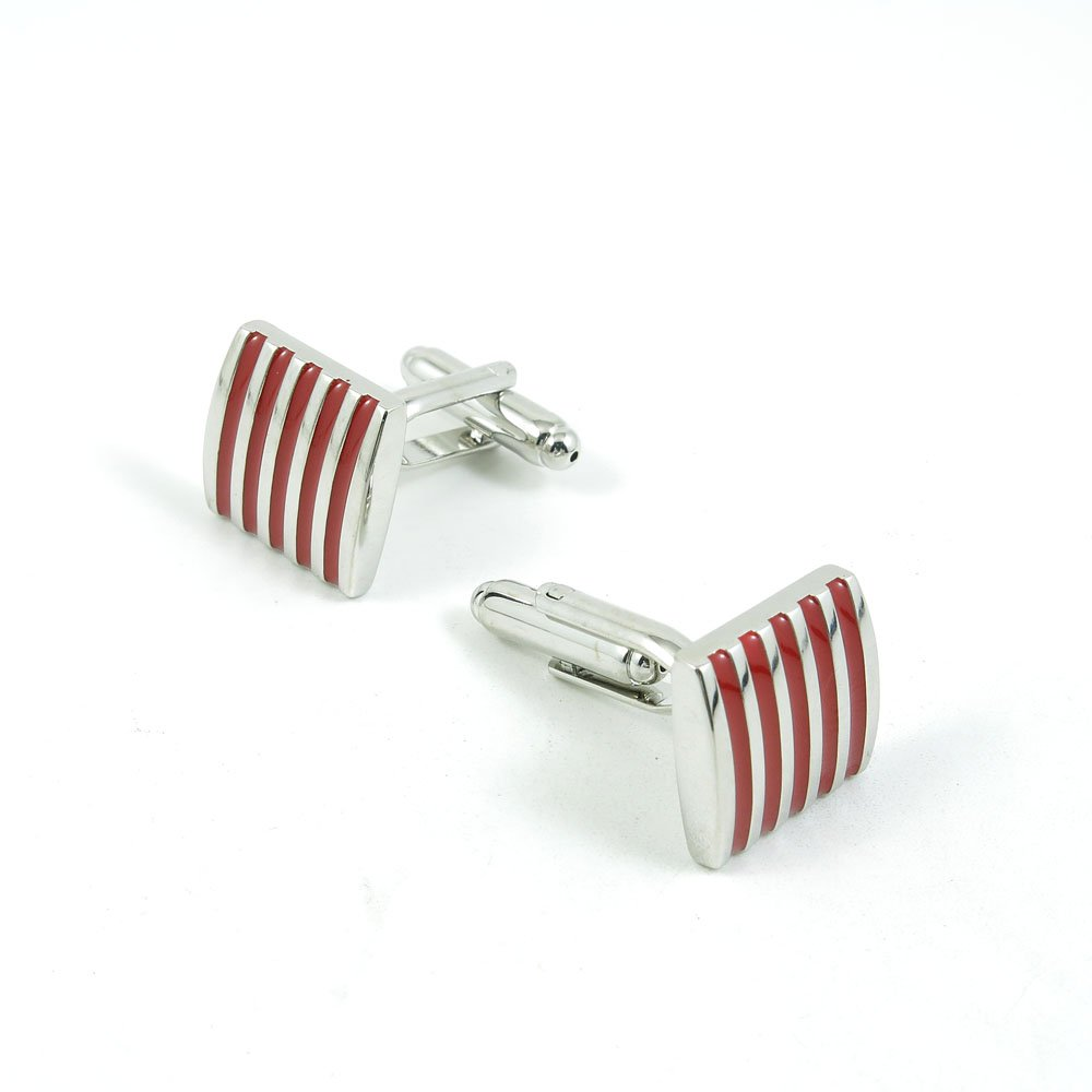 50 Pairs Cufflinks Cuff Links Fashion Mens Boys Jewelry Wedding Party Favors Gift 501RI0 Red Five Lines