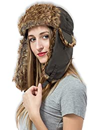 Trapper Hat with Faux Fur & Ear Flaps - Ushanka Aviator Russian Hat for Serious Expeditions & Serious Style. Waterproof, Windproof & Thermal Shell for Winter Warmth - Fits Men & Women