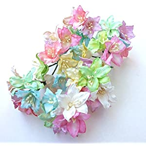 """ICRAFY 25 pcs. Assorted Pastel Lilly Mulberry Paper Flower Artificial Craft Scrapbook Wedding Supply Accessory DIY, Pastel Color, Size 3"""" 54"""