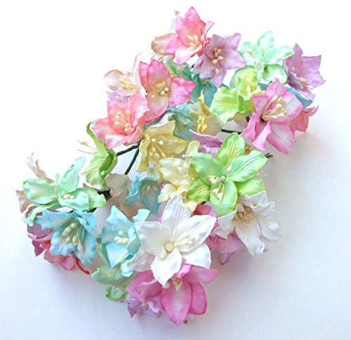 (ICRAFY 25 pcs. Assorted Pastel Lilly Mulberry Paper Flower Artificial Craft Scrapbook Wedding Supply Accessory DIY, Pastel Color, Size 3