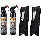 Guard Alaska (pack of 2) 9 oz. Bear Spray Repellent Firemaster Canisters & (pack of 2) Pepper Enforcement Metal Belt Clip Holsters
