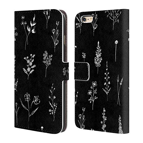 Official Anis Illustration B&W 2 Flower Pattern 1 Leather Book Wallet Case Cover for iPhone 6 Plus/iPhone 6s Plus ()