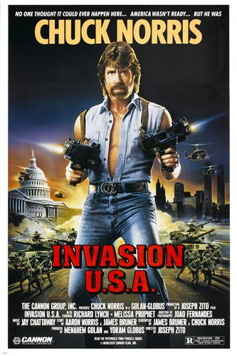 chuck norris Invasion USA movie poster Action martial arts star rare reproduction, not an