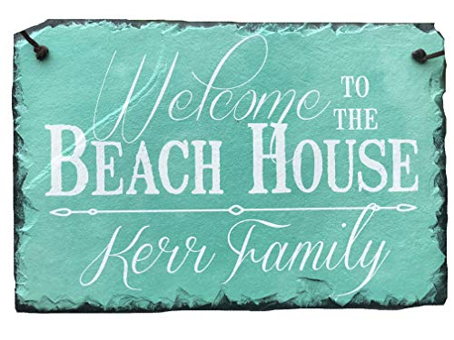 Welcome Personalized Slate - Sassy Squirrel Handcrafted and Personalized Slate House Sign - Welcome to The Beach House 12