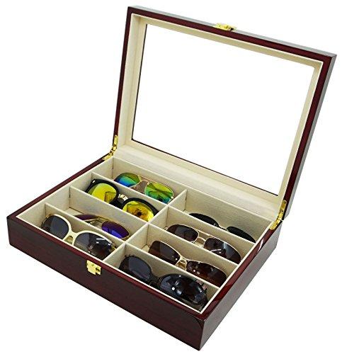 Shining Painted Wood Sunglasses Organizer Watch Eyewear Accessories - Box Sunglasses Luxury