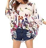 Qunsia Women Chiffon Blouse Floral Batwing Sleeve Beach Cover Up Loose Tunic Shirt Tops