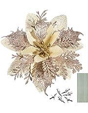 NUOBESTY 12 peças de flores de poinsétia com glitter de Natal, enfeites de árvore de Natal, flores de poinsétia, decorações de Natal, Dia de Ação de Graças, ornamentos de Ano Novo com hastes e clipes de Natal