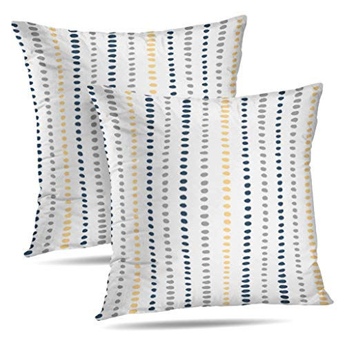 (KJONG Navy Blue Yellow Gray Stripe Dots Zippered Pillow Cover,18X18 inch Square Decorative Throw Pillow Case Fashion Style Cushion Covers(Two Sides Print)(Set of 2))