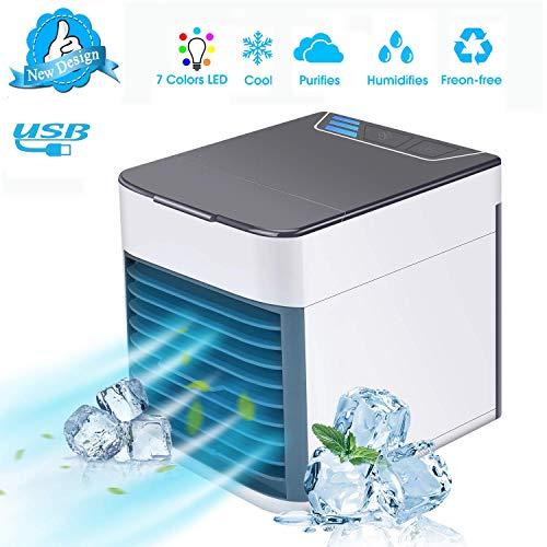 AUSHEN Portable Air Cooler, Mini Air Conditioner Fan Personal Space Cooler Humidifier Adjustable 3 Fan Speeds 7 Color LED Light Desktop Table Cooling Fan for Home Bedroom Office