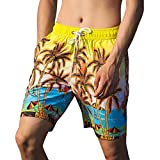 NUWFOR Men's Printed Double-Pocket with One Middle Pocket Loose Elastic Rope Beach Pants(Yellow,US XS Waist:26.77-38.58'')
