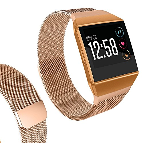 I-SMILE Fitbit Ionic Smartwatch Bands, Milanese Magnetic Stainless Steel Metal Replacement Wristband for Fitbit Ionic, Silver, Rose Gold, Black, Colorful, Large, Small