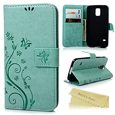 S5 Case,Samsung Galaxy S5 Case - Mavis's Diary Premium Wallet PU Leather with Fashion Embossed Floral Butterfly Magnetic Clasp Card Holders Flip Cover with Hand Strap - (Flip Cover Cases For Galaxy S5)