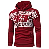 YOcheerful Plus Size Men Hoodie Hoody Sweatshirt Christmas Long Sleeve Pullover Winter Top