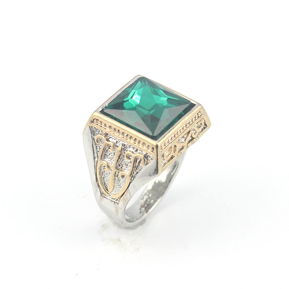 HIGH FINISH TSAVORITE FASHION JEWELRY SILVER PLATED AND BRASS RING 10 S23109