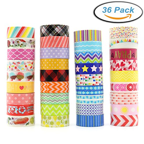 Washi Masking Tape Set of 36 Rolls, Decorative Masking Tape Collection, Colorful Tape Decorate for DIY Crafts, Festival Gift Wrapping ,Office Party Supplies, Christmas, Lamp, Cards, -