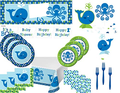 Nautical Theme Baby Shower or Birthday Party Supply Bundle for 16 Guests - Includes Plates, Napkins, Tablecover, Forks and -