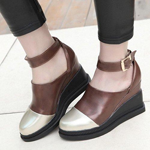 FANIMILA Mujer Moda Correa de tobillo Multicolor Bombas Zapatos De Cuna With En aumento Marron