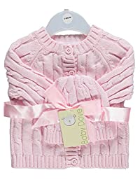 Baby Dove Baby Girls' Cable Knit Cardigan & Beanie Set