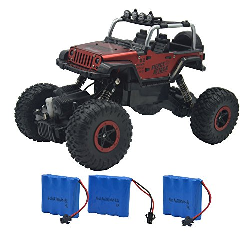 Blomiky Wesipi 1/18 4WD Alloy Monster RC Truck Toys Off-Road Rock Through Crawler Remote Control Buggy RC Car Vehicle With LED Light C182 Red