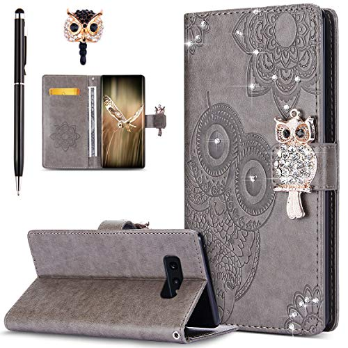 Price comparison product image ikasus Case for Galaxy S10e Cover, Bling Diamonds Glitter Embossing Mandala Owl PU Leather Fold Wallet Flip Stand Protective Case Cover + Dust Plug & Stylus for Galaxy S10e Wallet Case, Gray