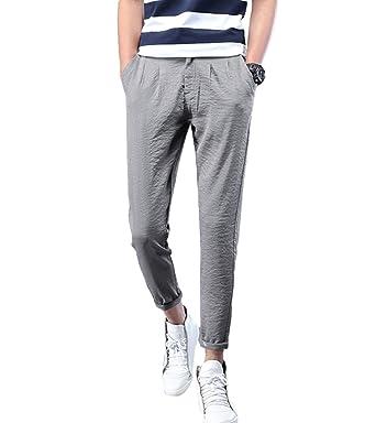 Xinwcang Casual Stretch Pantaloni Uomo Moda Slim Regular Fit