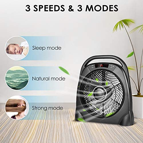 TRUSTECH Remote Table Fan – Portable Floor Fan with 3 Speeds Automatic Shut Off Timer, Powerful or Breeze Modes, 18 Inch Box Fan with Remote Cools You Down in Hot Summer