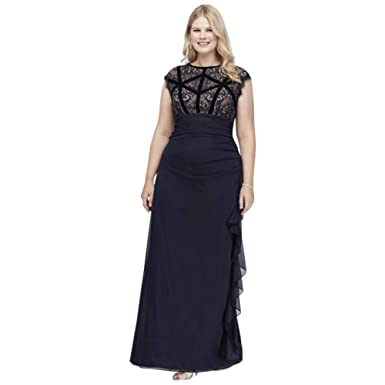 David\'s Bridal Velvet-Banded Lace and Chiffon Plus Size Gown Style ...