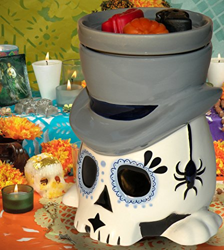 Day of the Dead (Día de los Muertos) Sugar Skull Undertaker - Horror Style Wax Warmer (Plates Halloween Ceramic)