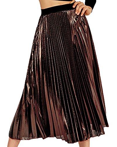 Jupe Femme Mori Fille Vent Slim Fit Plage Plisse Taille Haute Grand Pendule Marron