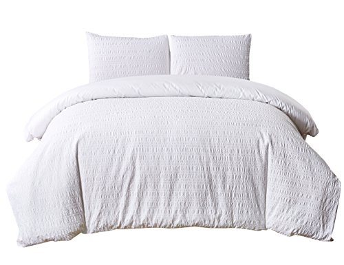 PHF Yarn Dyed Seersucker Duvet Cover Set with Stripe 100% Cotton Bedding for Winter 3 Pieces King Size White (Puckering Duvet Cover)