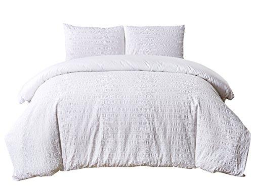 PHF Yarn Dyed Seersucker Duvet Cover Set with Stripe Lightweight 100% Cotton Bedding 3 Pieces Queen Size White
